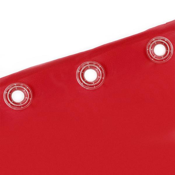 Dettaglio occhielli in plastica trasparente